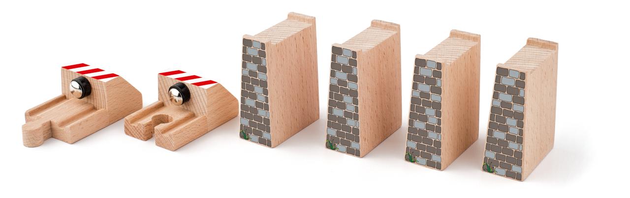 Příslušenství k dráze - Rozšířený set kolejí: zarážky s magnetem, bloky