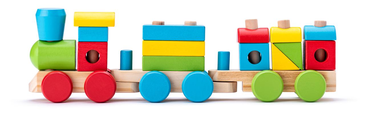 Dřevěný skládací nákladní vlak - dva vagony