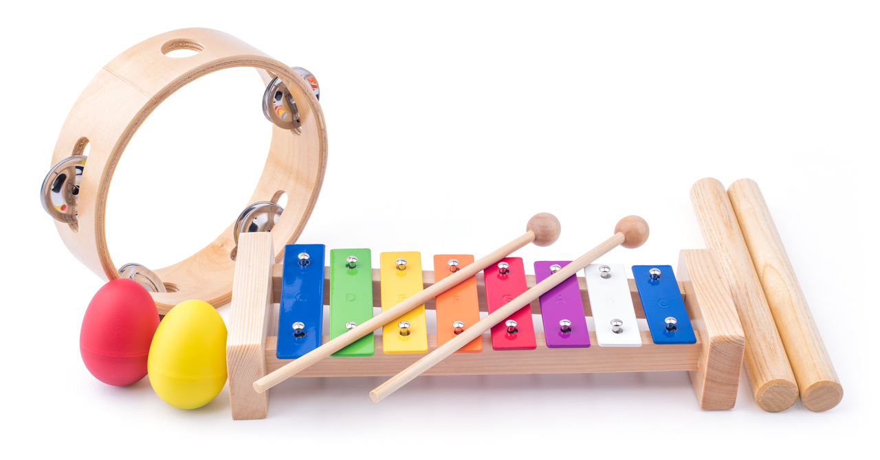 Muzikální set ( xylofon, tamburína, dřívka, 2 maracas vajíčka )