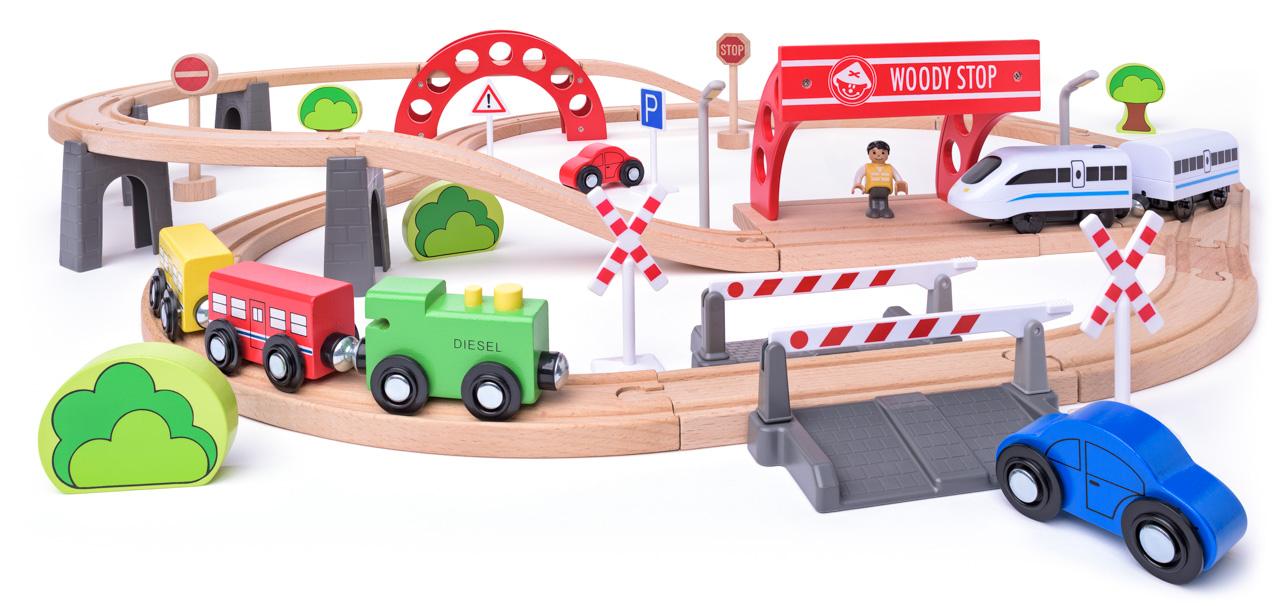 Vláčkodráha s elektrickou mašinkou a viaduktem, 60 dílů