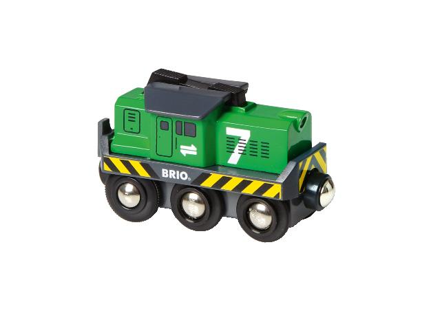Elektrická lokomotiva zelená, baterie AA není součástí