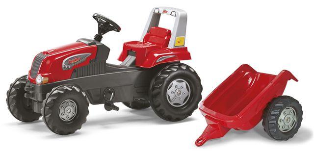 Šlapací traktor Rolly Juniors vlečkou červený akční