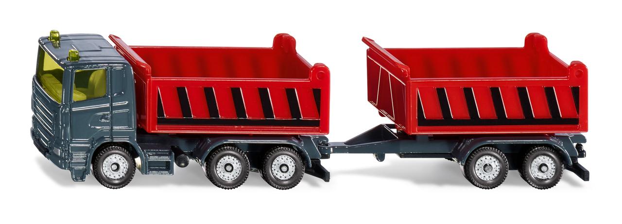 SIKU Blister - Nákladní auto se sklápěcí korbou a vlekem