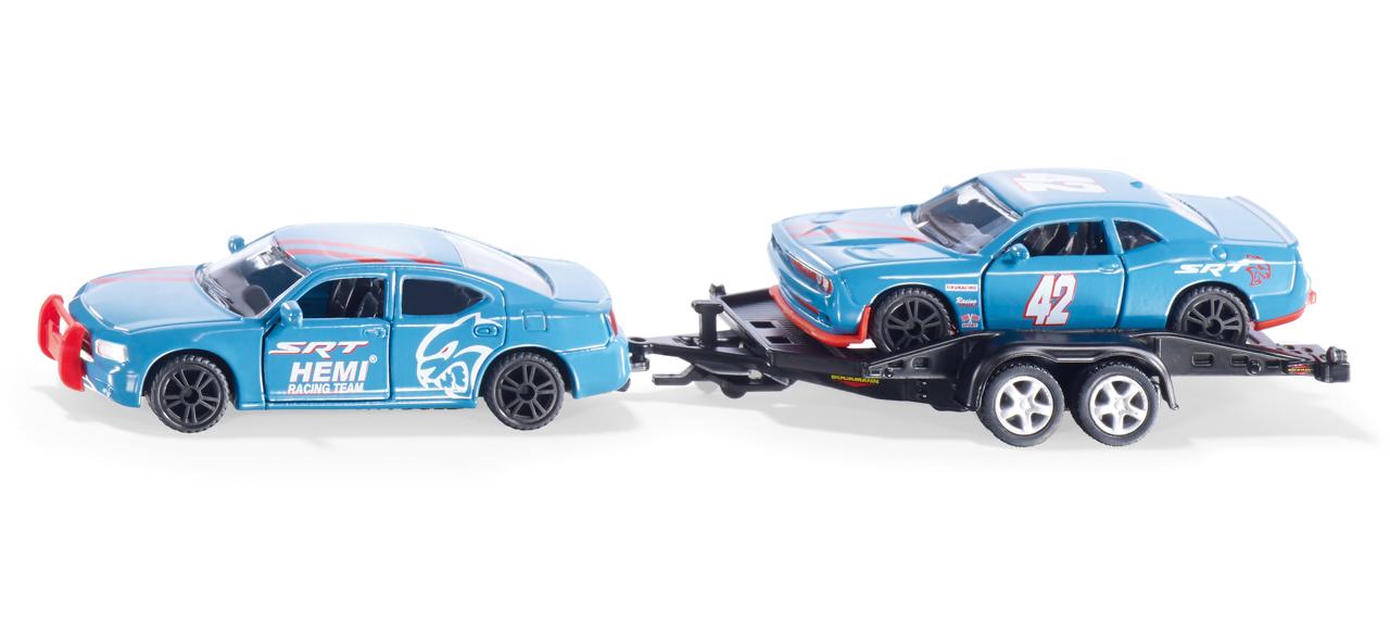 SIKU Super - Dodge Charger se závodním autem na vleku