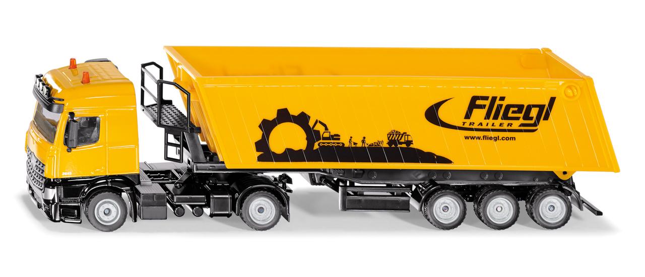 SIKU Super - Kamion s vyklápěcím vlekem  červený, 1:50
