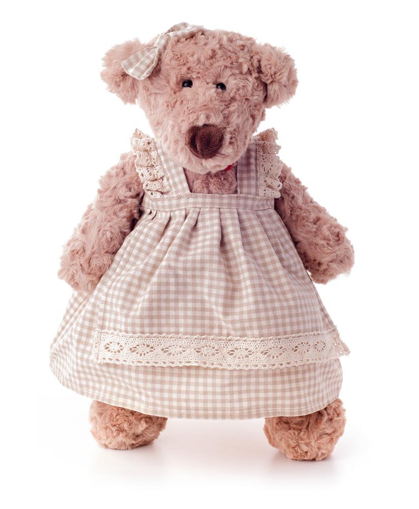Medvěd Lumpinka v šatech - režné, střední 43 cm