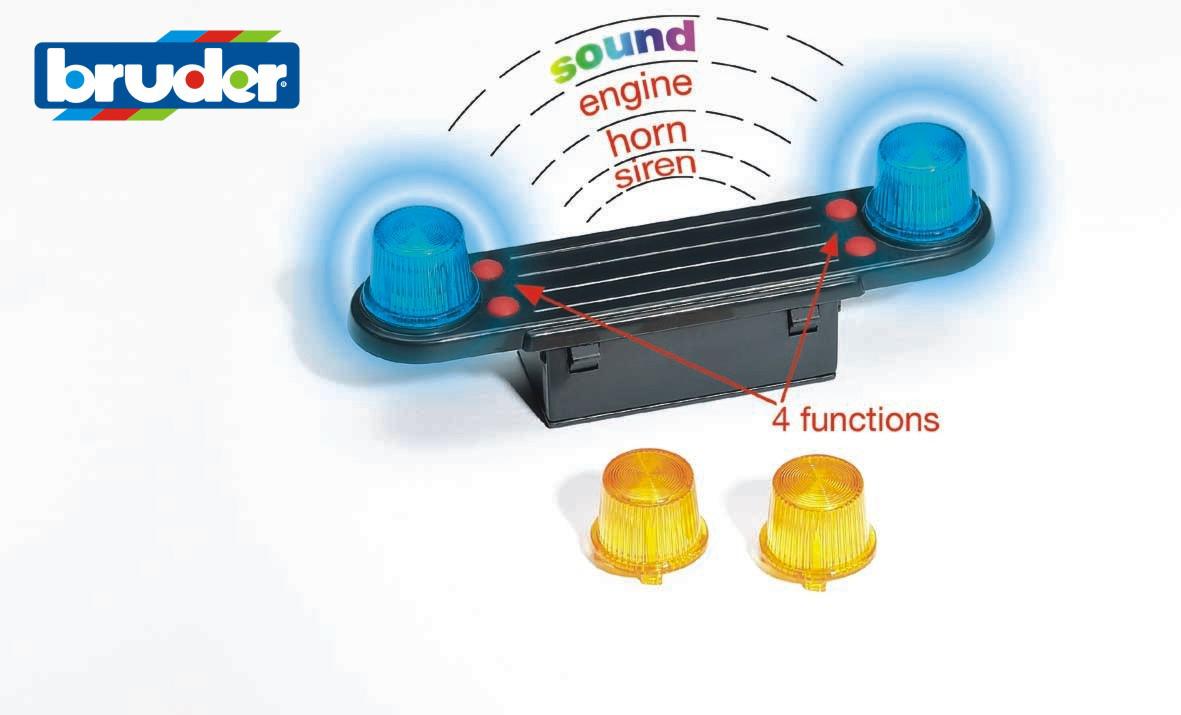 Konstrukční vozy - světelná a zvuková blikačka včetně baterií - ARCH.