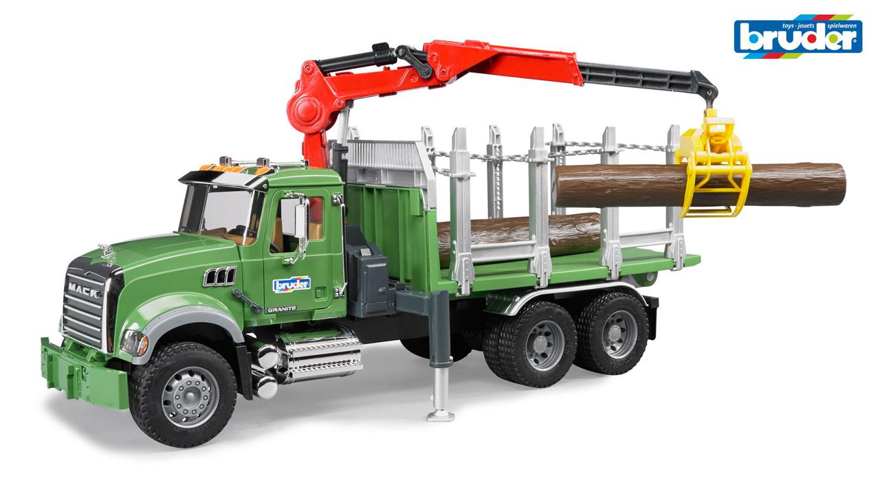 Lesnické vozy - nákladní auto s jeřábem a 3 kládami
